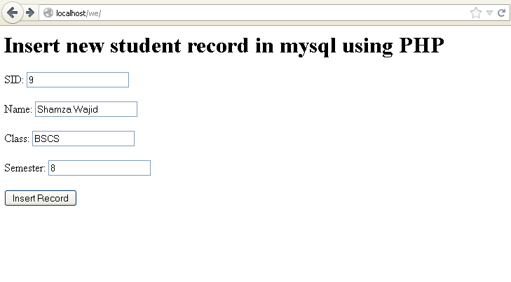 insert record into mysql using php